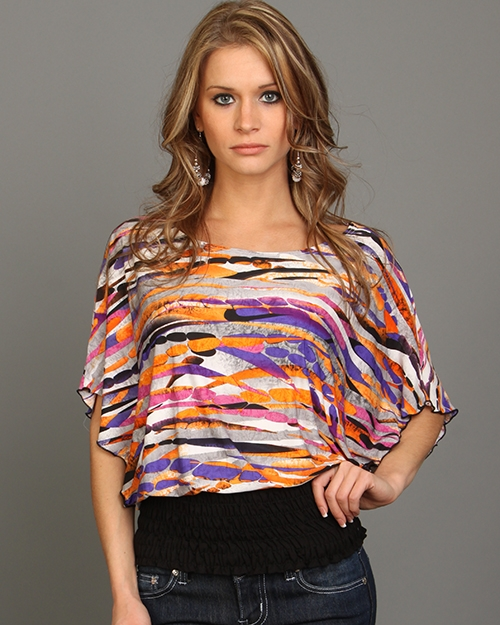 PURPLE ORANGE STYLESH SCOOP NECK ABSTRACT PRINT ELASTIC BOTTOM TOP