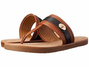 Coach Women\'s Black and Brown Leather Flat Sandals