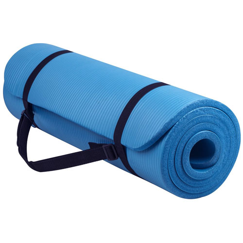 BalanceFrom GoYoga All-Purpose 1/2-Inch Extra Thick High Density Anti-Tear Exercise Yoga Mat with Carrying Strap (BLUE)