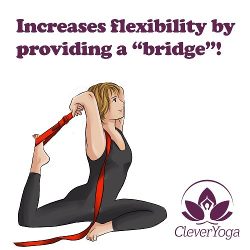 "Clever Yoga Strap 96"" Made With The Best, Durable Cotton - Comes With Our Special \""Namaste\"" Lifetime Warranty (Purple)"