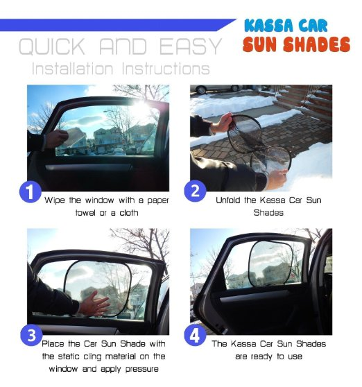Car Sun Shade by Kassa (3 Pack) - Foldable Shades with UPF 30+ Sun Protection, Blocks 97% of UV Rays - Easy Installation, No Suction Cups RequiredSunshade for Cars - Car Side Window Shade