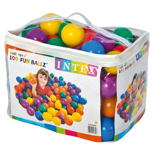 "Intex 3-1/8"" Fun Ballz - 100 Multi-Colored Plastic Balls, for Ages 2+"