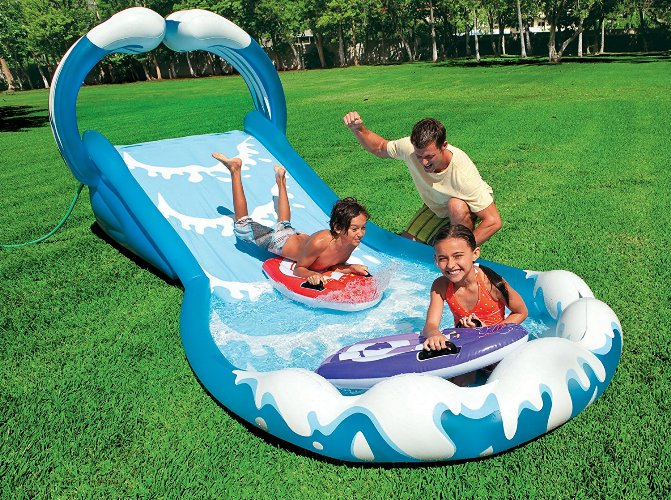 "Intex Surf \'N Slide Inflatable Play Center, 174"" X 66\"" X 64\"", for Ages 6+"