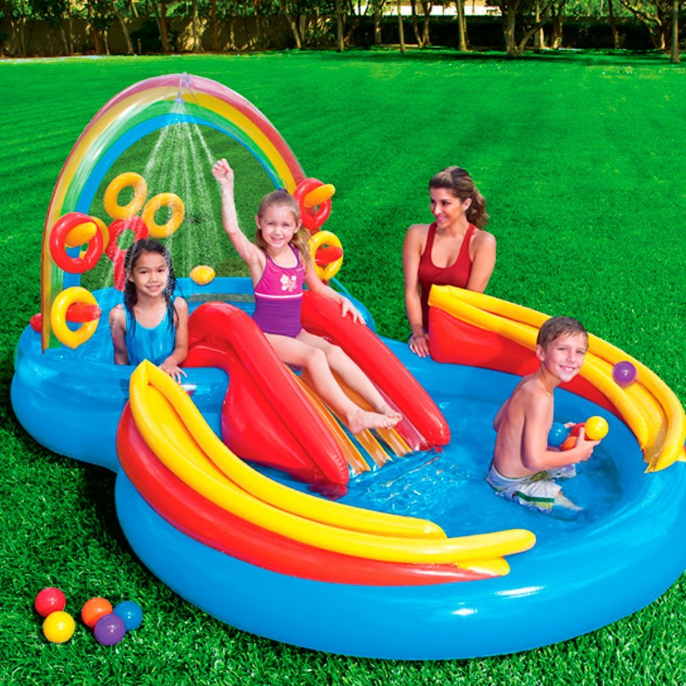 Intex Rainbow Ring Inflatable Play Center, 117 in X 76 in X 53 in, for Ages 2+
