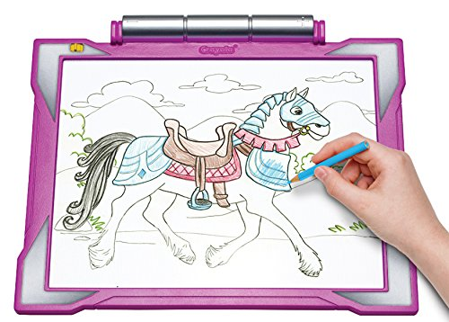 Crayola Light-up Tracing Pad - Pink, Coloring Board for Kids, Tracing Pencil and Sheets, 12 Colored Pencils, Easy Coloring Pages