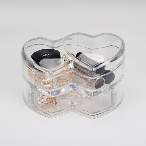 Acrylic Cotton Cosmetic Storage Box Desktop Jewelry Swab Finishing (Double Double Heart Cassette