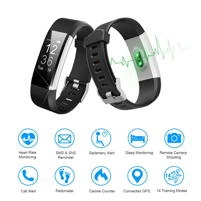 LETSCOM Fitness Tracker HR, Activity Tracker Watch with Heart Rate Monitor, Waterproof Smart Fitness Band with Step Counter, Calorie Counter, Pedometer Watch for Kids Women and Men (Black)