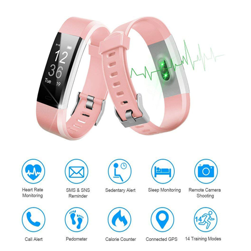 LETSCOM Fitness Tracker HR, Activity Tracker Watch with Heart Rate Monitor, Waterproof Smart Fitness Band with Step Counter, Calorie Counter, Pedometer Watch for Kids Women and Men (Pink)