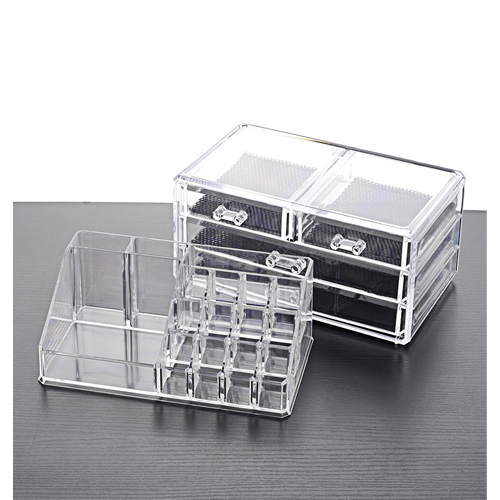 Acrylic Makeup Organizer and Cosmetic Make Up Organizer Countertop Storage Box Brush Holder Clear Jewelry Organizer Bathroom Vanity Tray