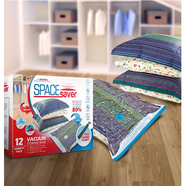 Space Saver Premium Vacuum Storage Bags (3 x Small, 3 x Medium, 3 x Large, 3 x Jumbo) (80% More Storage Than Leading Brands) Free Hand Pump for Travel!