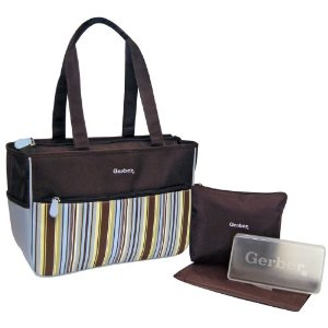Gerber Stripe Nylon Diaper Tote (Baby Bag)