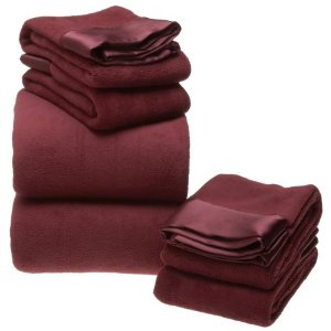 Micro-Fluff Sheet Set with Bonus Pillowcase and Satin Hem (Burgandy) (King)