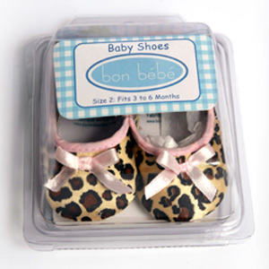 Bon Bebe Satin Leopard Baby Shoes