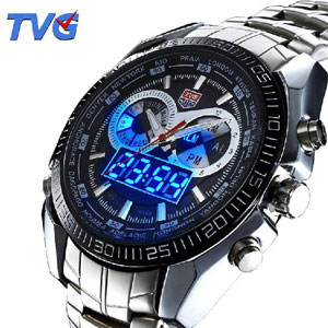 TVG Fashion LED Analog-Digital Stainless Steel Watch