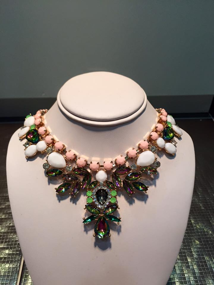 Pink Irridescent Crystal Statement Necklace