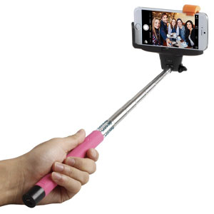 Selfie Stick, Flexion� QuickSnap Pro 3-In-1 Self-portrait Monopod Extendable Wireless Bluetooth Selfie Stick with built-in Bluetooth Remote Shutter With Adjustable Phone Holder for iPhone 6, iPhone 6 Plus, iPhone 5 5s 5c, Android (Pink)