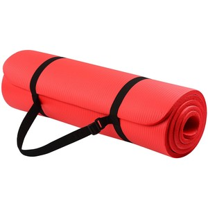 BalanceFrom GoYoga All-Purpose 1/2-Inch Extra Thick High Density Anti-Tear Exercise Yoga Mat with Carrying Strap (RED)