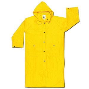 River City Garments - MCR Safety Wizard Limited Flammability Rainwear (300CM PVC/Nylon Coat with Detachable Hood, Yellow, Medium)