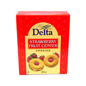 Delta Strawberry Fruit Center Cookies (350g)