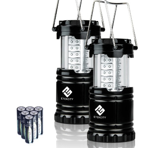 Etekcity 2 Pack Portable Outdoor LED Camping Lantern Flashlight with 6 AA Batteries (Black, Collapsible)