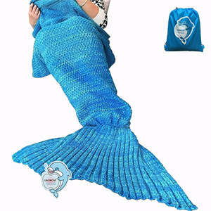 "LAGHCAT Mermaid Tail Blanket Crochet and Mermaid Blanket for adult, Super Soft All Seasons Sleeping Blankets, 71""x35.5\"", Blue"