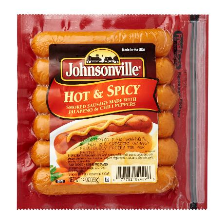 JOHNSONVILLE HOT & SPICY SMOKED SAUSAGE 396G