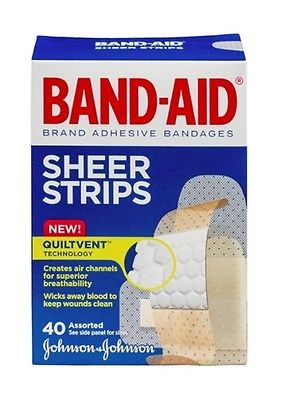 JOHNSON AND JOHNSON BAND-AID BRAND ADHESIVE BANDAGES SHEER STRIPS 40CT