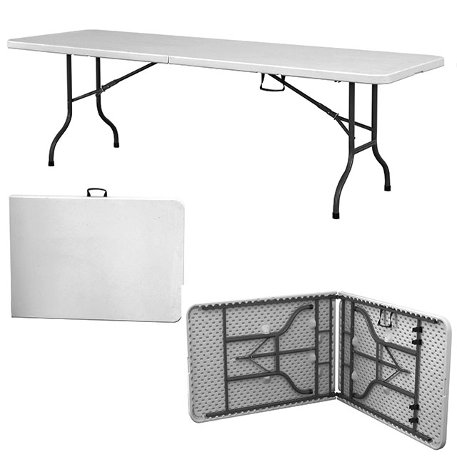 HEAVY DUTY 8FT FOLDING TABLE HDPE OFF WHITE (RENT)