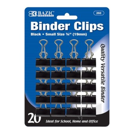 Bazic Binder Clip (Small 75 inch - 19mm Black, 20-Pack)