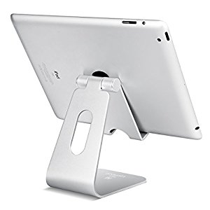 Tablet Stand Multi-Angle, Lamicall iPad Stand : Desktop Holder Dock for iPad mini Air 2 3 4 Pro, iPhone 5 6 7 Plus, Nintendo Switch, Nexus, Accessories, Samsung and Other Tablets (4-13 inch) - Silver