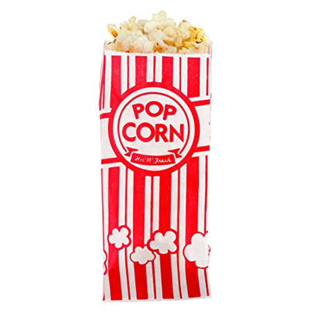 Popcorn Bags - 200 Bonus Pack - Premium Retro Style - Great for Family Movie Night, Carnival Themed Party, Birthday Parties, Concession Stands, Fundraisers, And More