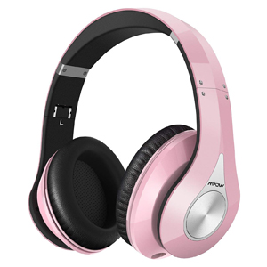 Mpow 059 Bluetooth Headphones Over Ear, Hi-Fi Stereo Wireless Headset, Foldable, Soft Memory-Protein Earmuffs, w/Built-in Mic and Wired Mode for PC/Cell Phones/TV (PINK)