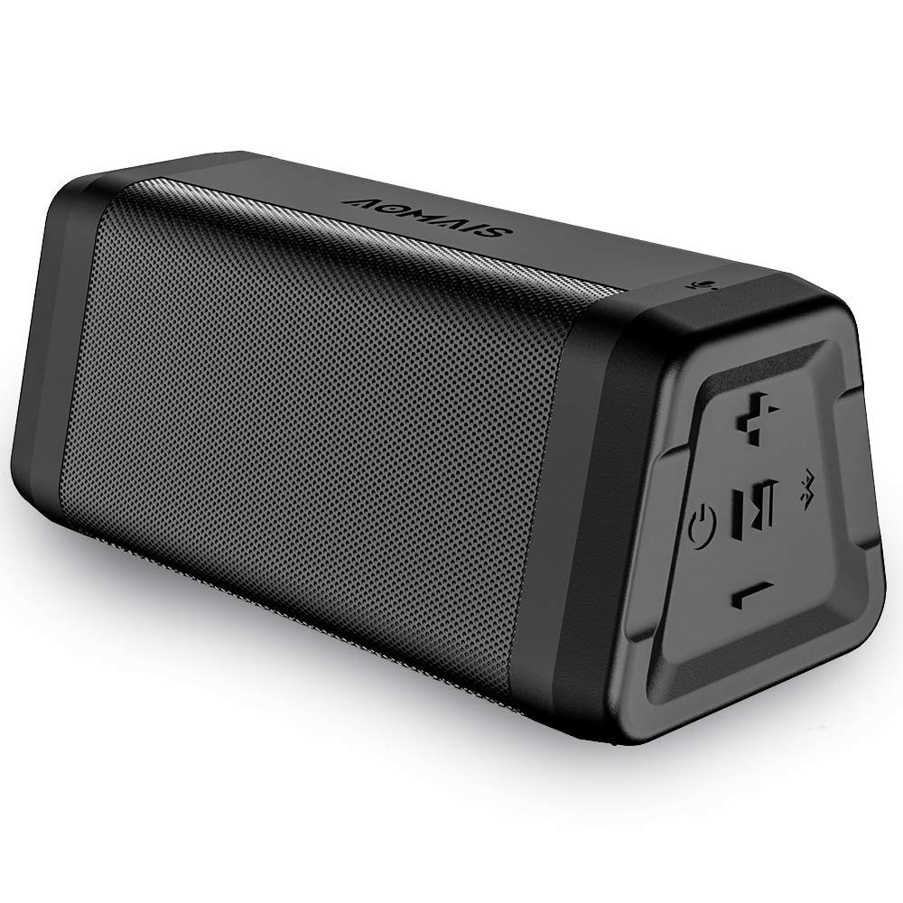 AOMAIS Real Sound Portable Bluetooth Speakers Loud Bass 20 Hours Playtime, Bluetooth 4.2, 100ft Range, IPX5 Waterproof, Durable Wireless Stereo Pairing Speakers for Home, Outdoor, Travel (Black)
