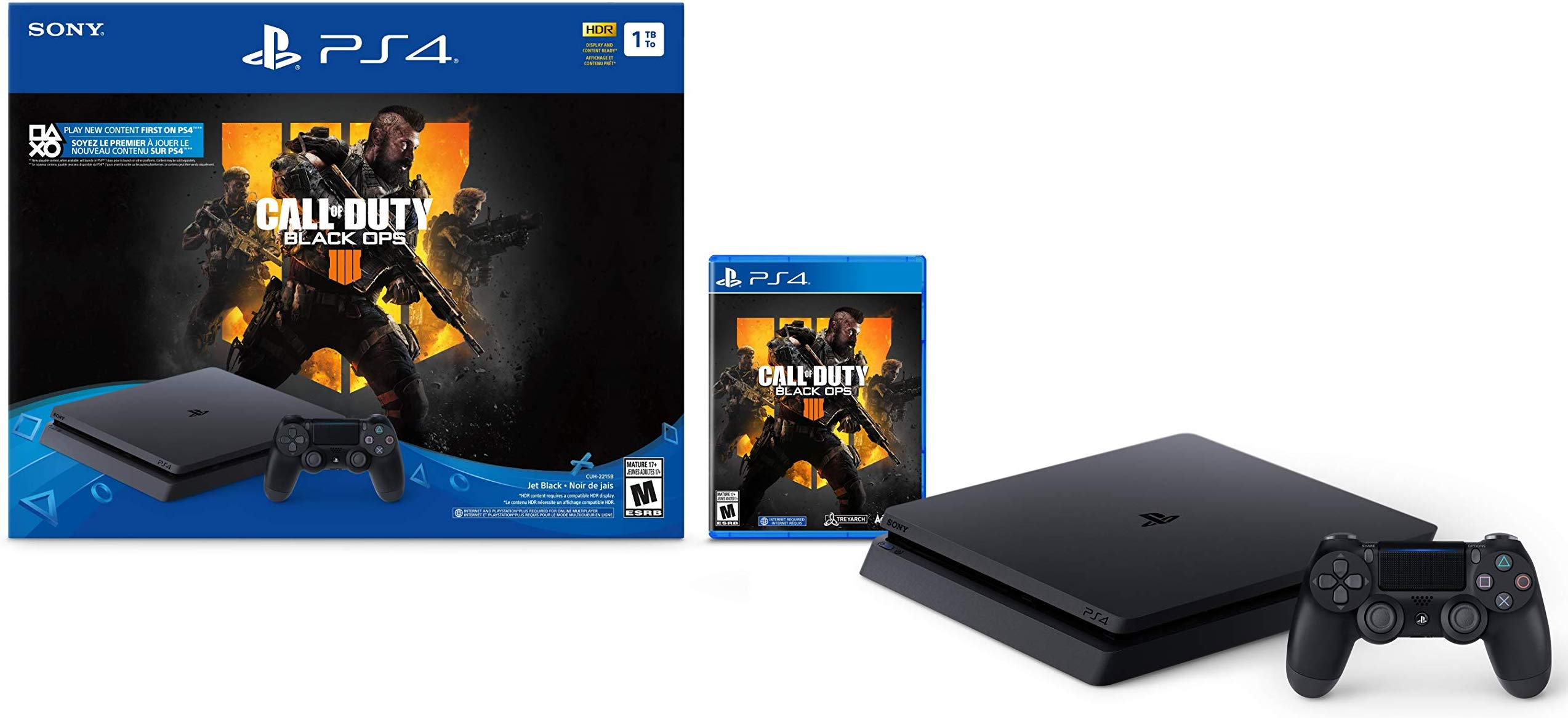 PlayStation 4 Slim 1TB Console - Call of Duty: Black Ops 4 Bundle includes a FREE pair of thumbgrips