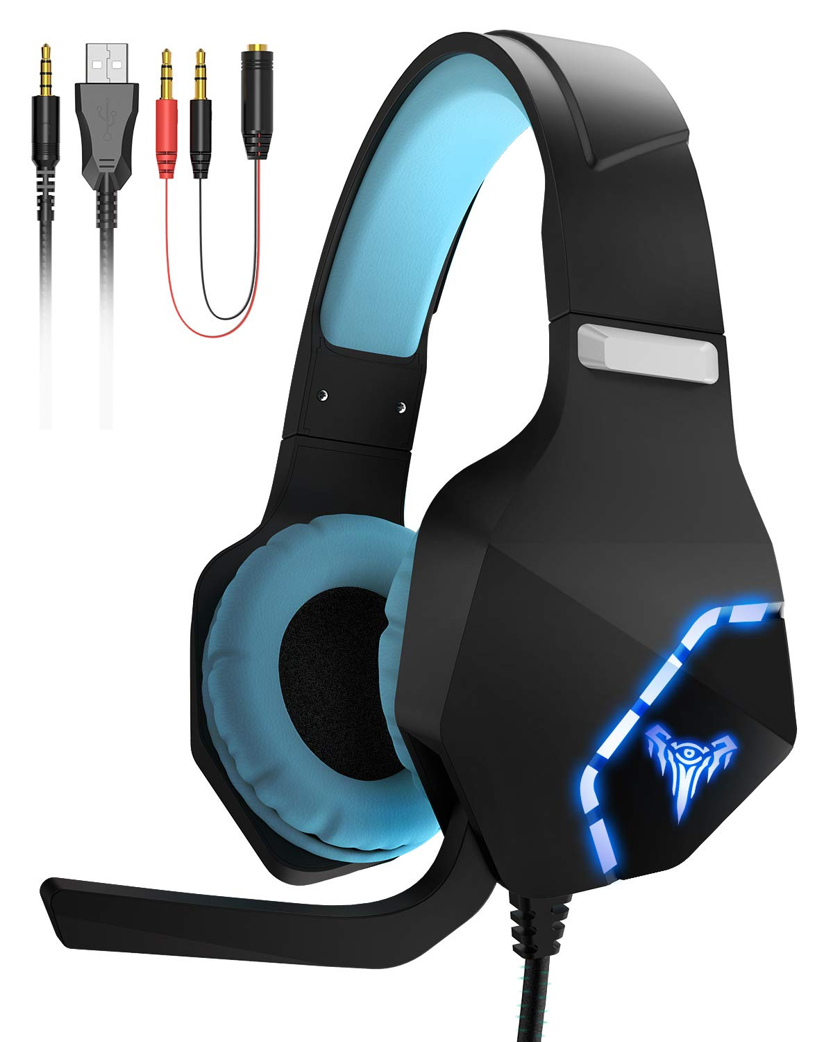 Giaride Gaming Headphones Surround Stereo with Mic Soft Memory Earmuffs Noise Cancelling LED Lights Volume Control for PS4 Xbox One, PC, Mac, Smartphones, Nintendo Switch Games