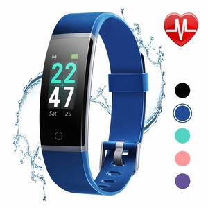 LETSCOM Fitness Tracker with Heart Rate Monitor, Color Screen Activity Tracker Watch, IP68 Waterproof Pedometer Sleep Monitor Step Counter Calorie Counter for Women Men Kids (Blue)