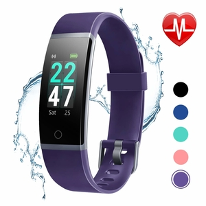 LETSCOM Fitness Tracker with Heart Rate Monitor, Color Screen Activity Tracker Watch, IP68 Waterproof Pedometer Sleep Monitor Step Counter Calorie Counter for Women Men Kids (Purple)