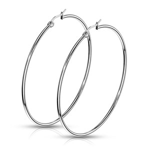 Large 316L Stainless Steel Hoop Earrings. 75mm in Diameter.