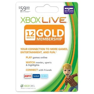 Xbox Live Subscription Gold Card - 12 Month (Online Game Code)