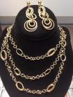Antique Gold Chain and Earring Set