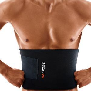 AZSPORT Waist Trimmer - Adjustable Ab Sauna Belt to help you shed the excess Water weight and tone your mid section. Black Color - One Size Fits up to 50 Inches