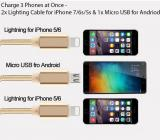 Earldom 3 in 1 Nylon Braided Charging Cable - 2x Lighting Cable (Apple)/ 1x Micro USB (Samsung and other Andriod Devices)
