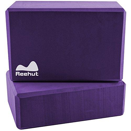 Reehut Yoga Block (2 PC) - High Density EVA Foam Block to Support and Deepen Poses, Improve Strength and Aid Balance and Flexibility - Lightweight, Odor Resistant and Moisture-Proof (Purple)