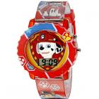 Paw Patrol Kids' Digital Watch with Red Case, Comfortable Red Strap, Easy to Buckle - Official 3D Paw Patrol Character on the Dial, Safe for Children