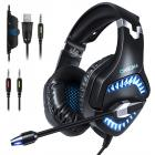 ONIKUMA 2019 Updated Version Gaming Headset for PS4, Xbox One Controller with Volume Control Switch, LED Light, Microphone Bass Surround, Noise Cancelling Over Headphones (Black Blue)