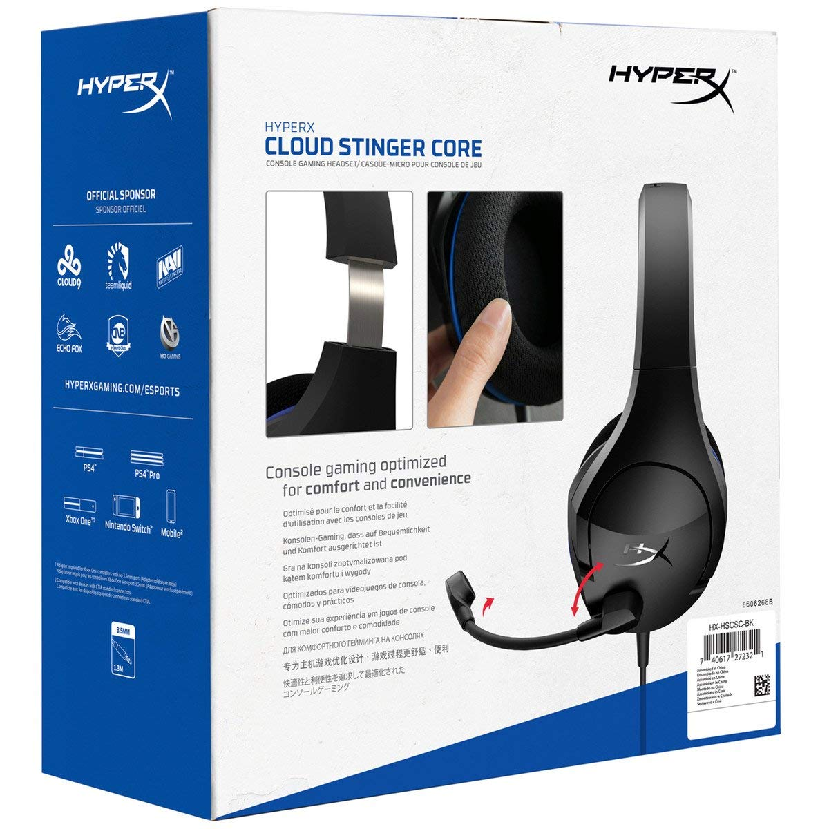 HyperX Cloud Stinger Core - Gaming Headset for PS4, Playstation 4, Nintendo Switch, Xbox One headset, Over-ear wired headset with Mic, passive noise cancelling, VR