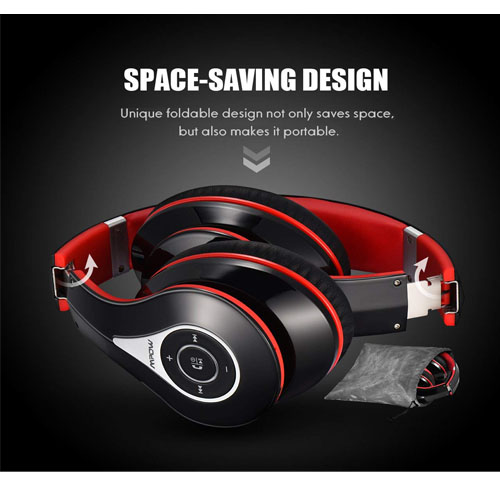 Mpow 059 Bluetooth Headphones Over Ear, Hi-Fi Stereo Wireless Headset, Foldable, Soft Memory-Protein Earmuffs, w/Built-in Mic and Wired Mode for PC/Cell Phones/TV (BLACK-RED)
