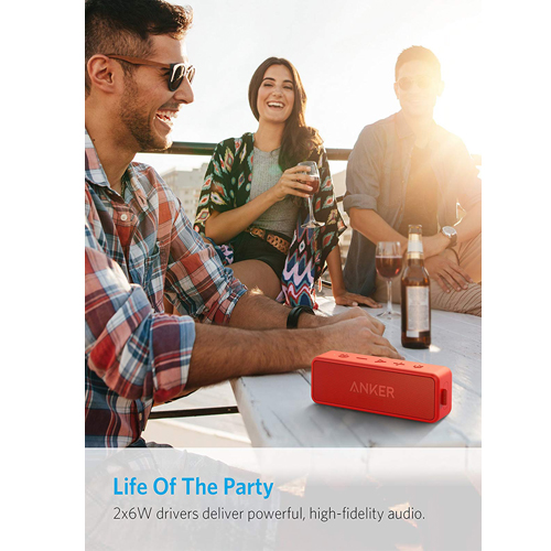 Anker SoundCore 2 Portable Bluetooth Speaker with Better Bass, 24-Hour Playtime, 66ft Bluetooth Range, IPX5 Water Resistance & Built-in Mic, Dual-Driver Wireless Speaker (Red)