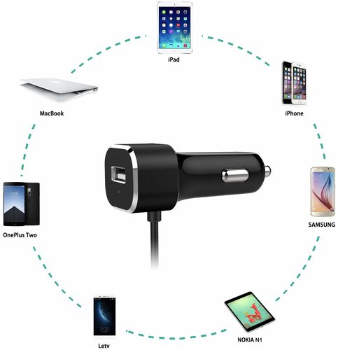 Nekteck 27W USB C Car Charger Adapter with Integrated Built in Type C 3.1 Cable and USB A Port for Samsung Galaxy S9/S8/Note 9 / Pixel 3XL LG Nexus HTC and More