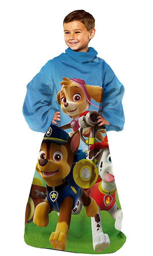 Nickelodeon Paw Patrol, Race to Rescue Youth Comfy Throw Blanket with Sleeves (Snuggie)